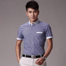 韩版修身男衣服潮男士短袖衬衫夏装格子衬衣
