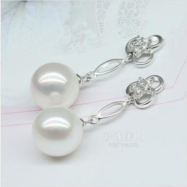 白色淡水珍珠耳环 白梅吐蕊