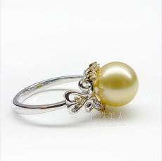 金色南洋珍珠戒指 天堂之殿