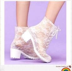 潮流新款高跟蕾絲PVC雨鞋 女款水鞋