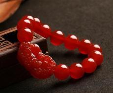 开光饰品 招财手链 红玛瑙貔貅 天然水晶 风